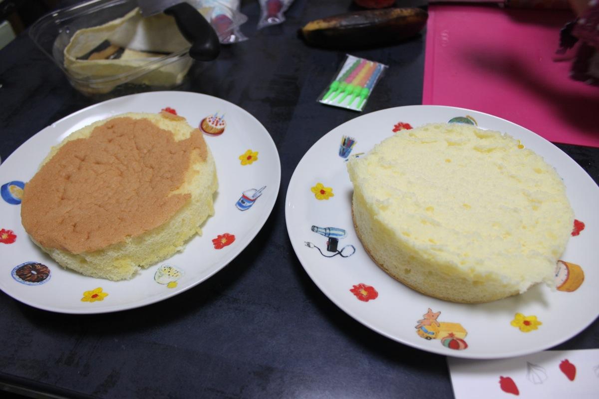 ルタオの手作りケーキセットをカットした