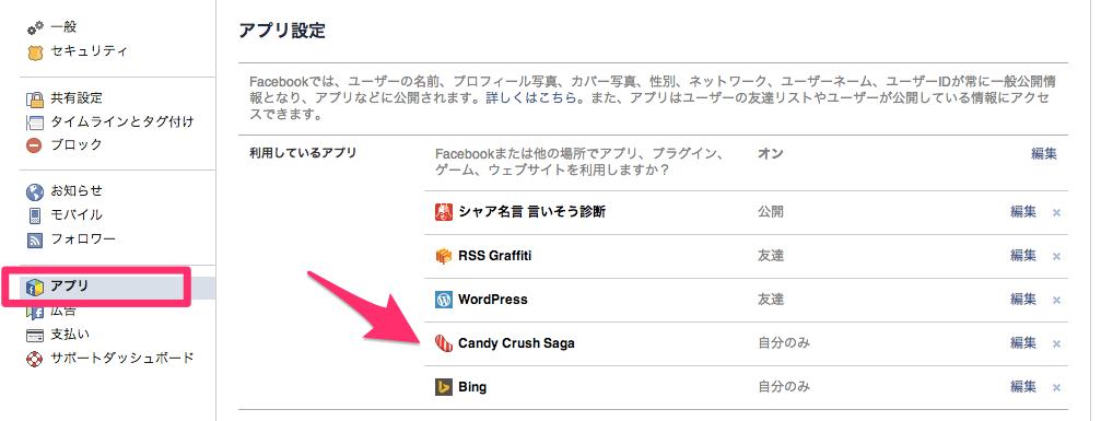facebookのアプリ設定を開く