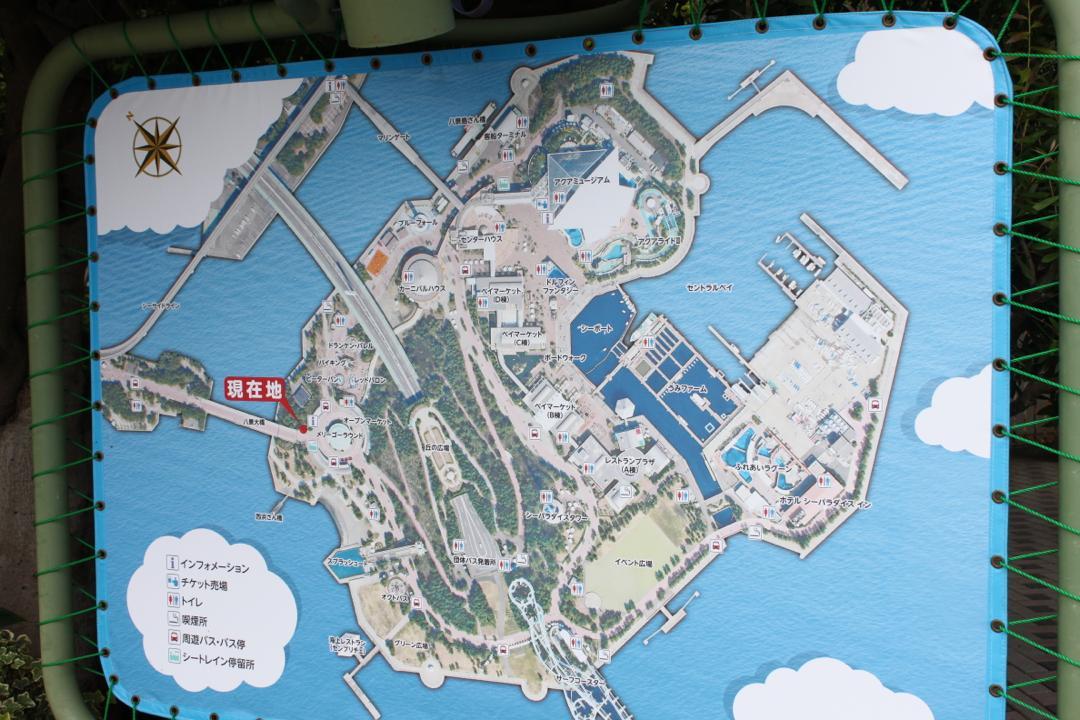 横浜八景島シーパラダイスの園内マップ