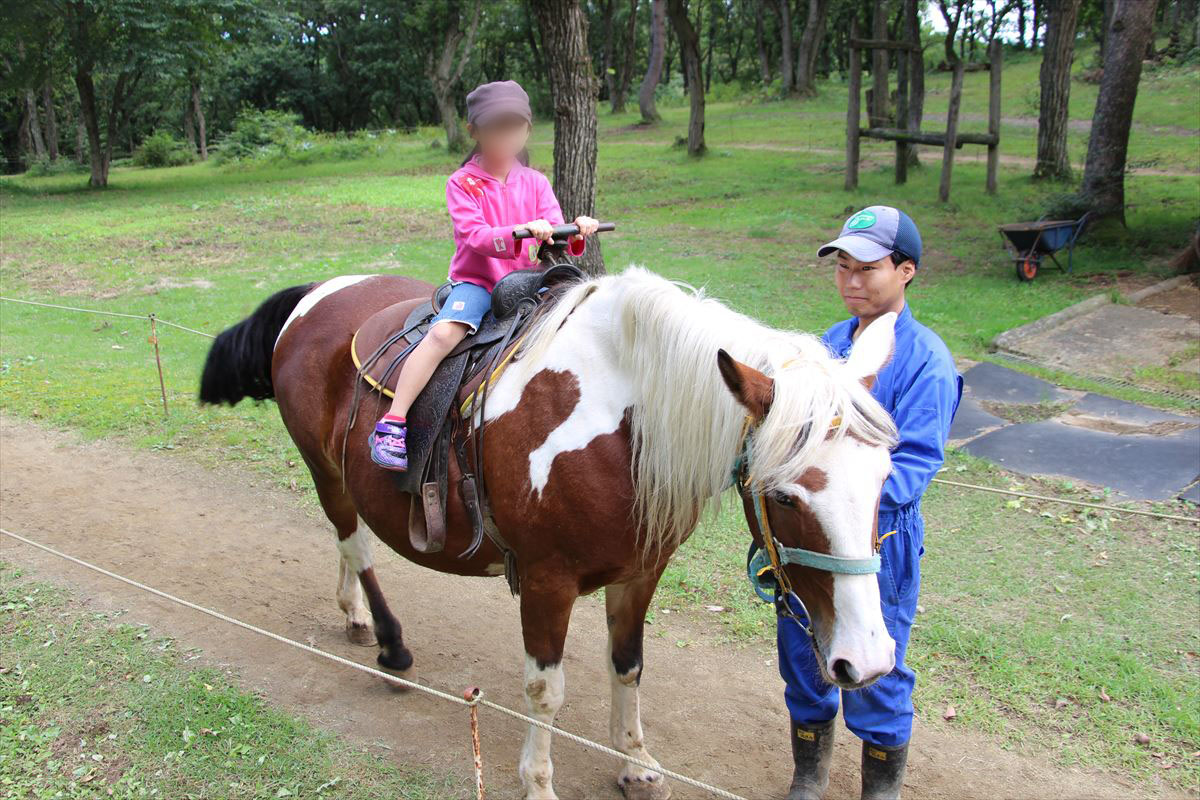 福島県の磐梯南ヶ丘牧場で馬と記念撮影