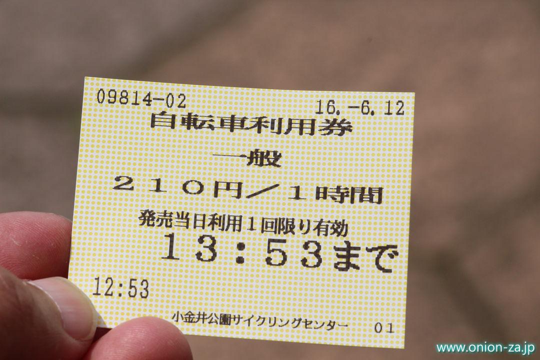 小金井公園サイクリングセンターの自転車利用券