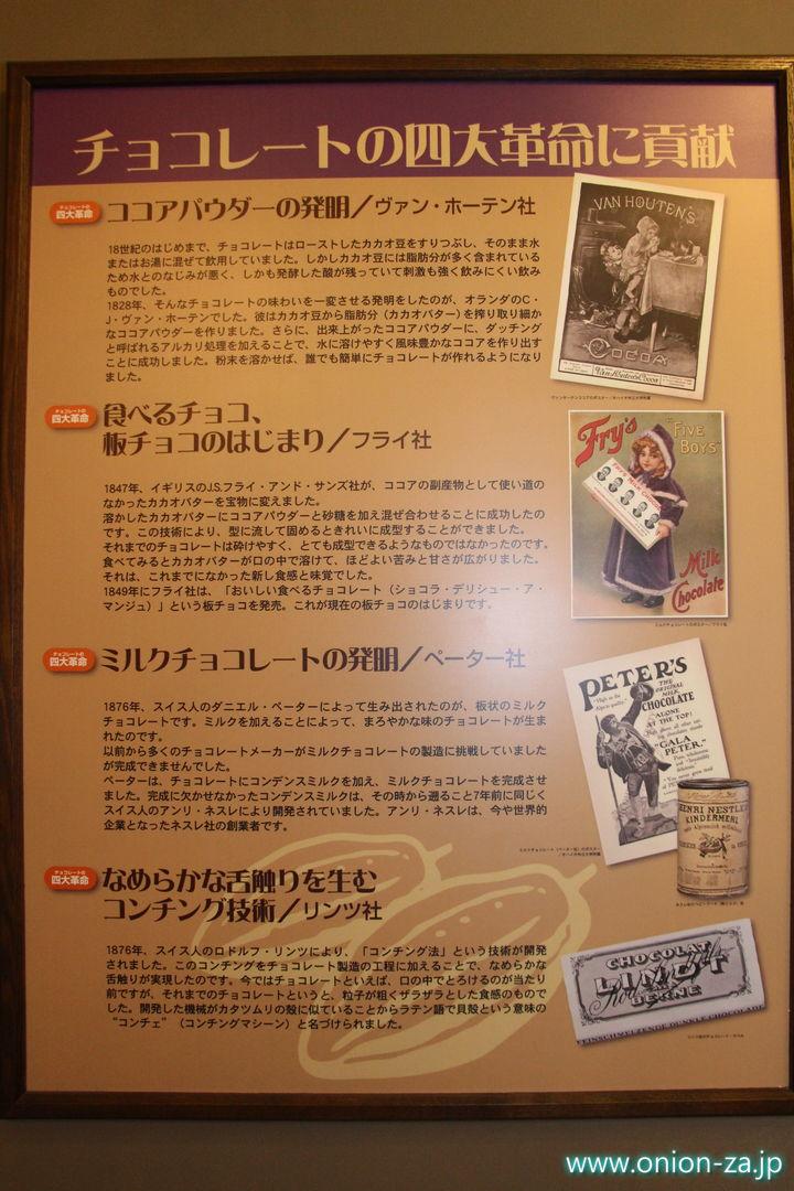 北海道にある白い恋人パークのチョコレート四大革命の展示