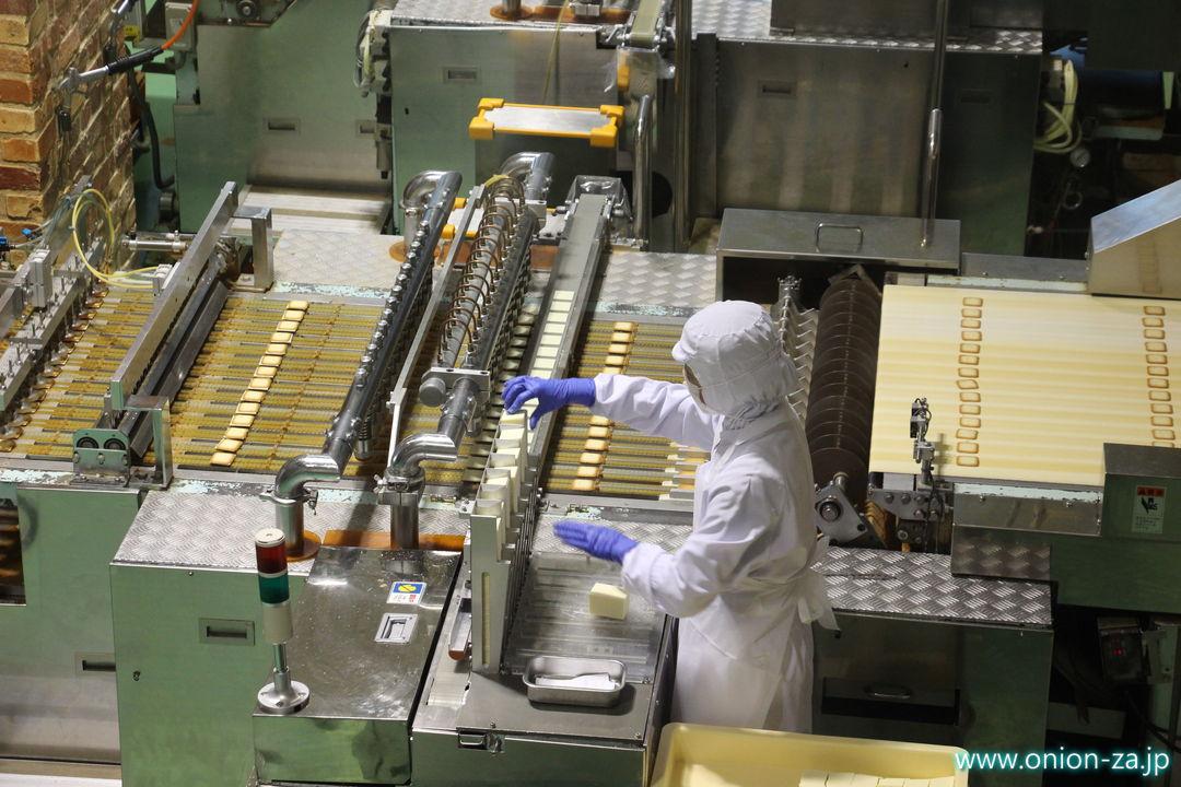 北海道にある白い恋人パークの工場見学「クッキー製造工程」2