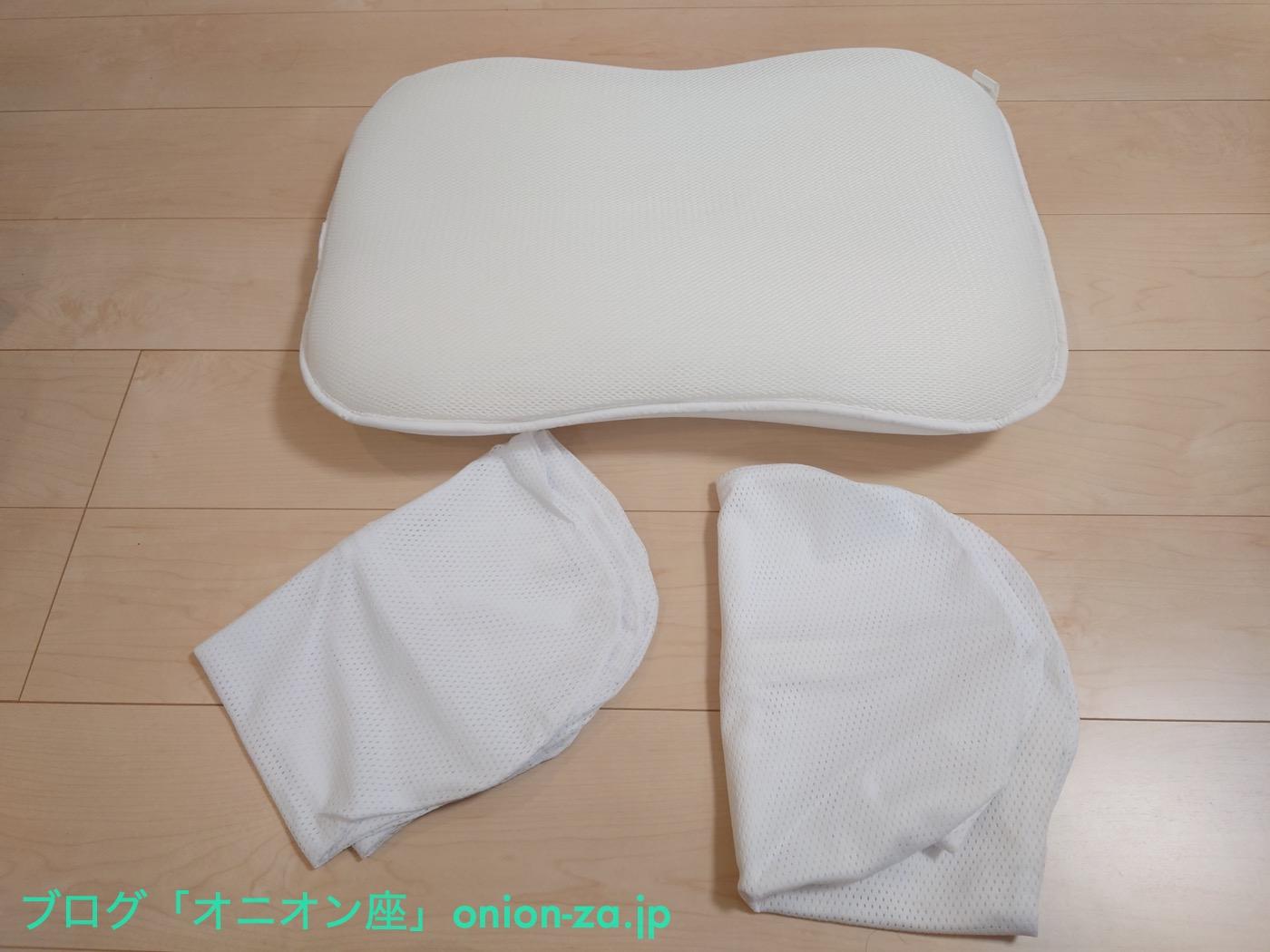 枕もカバーもサイズはヨコ60cmタテ40cm。カバーは他社の市販品も使えそうです。