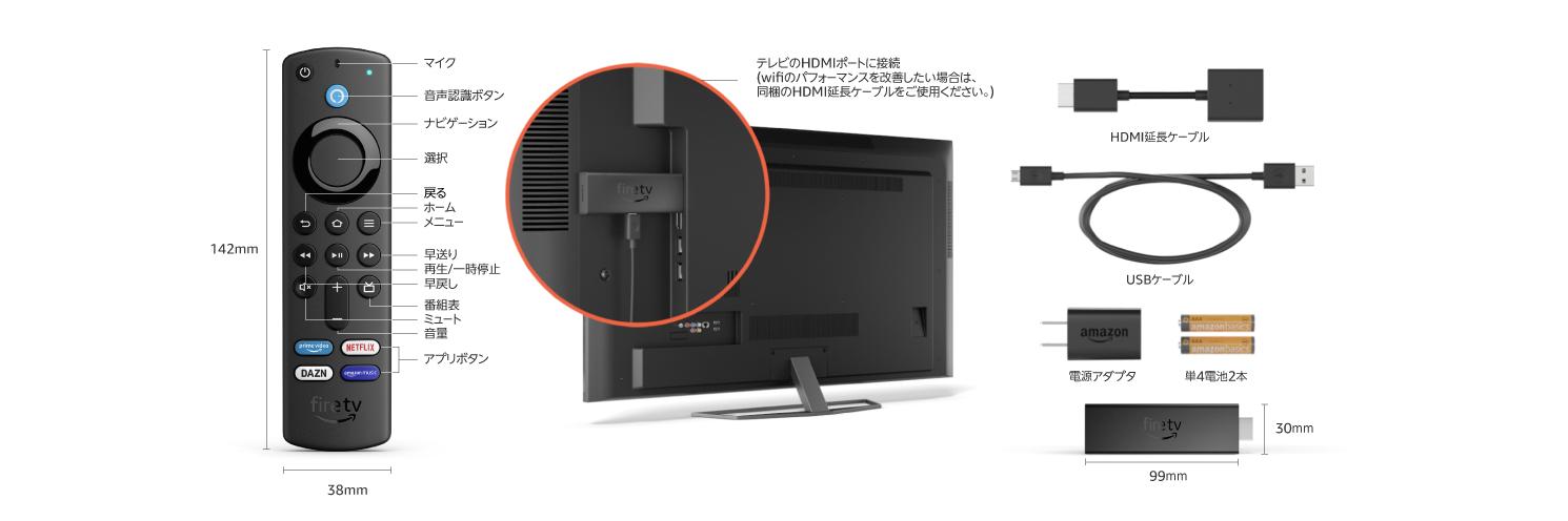 Fire TV Stick 4K Maxの本体は100円ライターくらいの大きさ。リモコンの方が大きい。